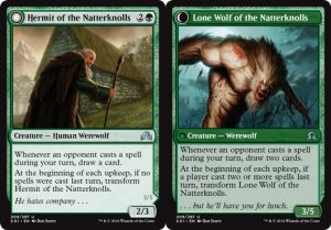 Hermit of the Natterknolls / Lone Wolf of the Natterknolls, Shadows over Innistrad