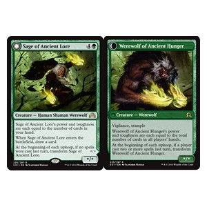 Sage of Ancient Lore / Werewolf of Ancient Hunger, Shadows over Innistrad
